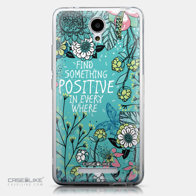 CASEiLIKE Xiaomi Redmi Note 2 back cover Blooming Flowers Turquoise 2249