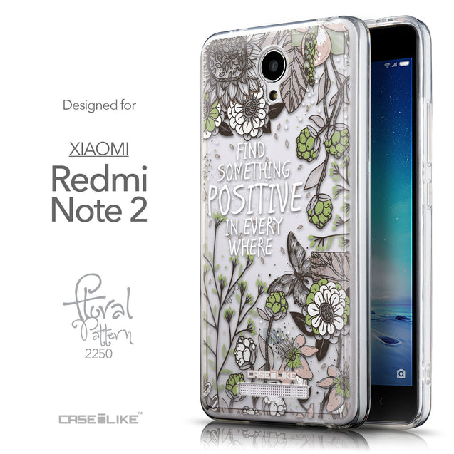 Front & Side View - CASEiLIKE Xiaomi Redmi Note 2 back cover Blooming Flowers 2250