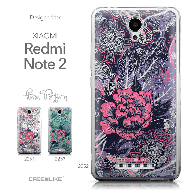 Collection - CASEiLIKE Xiaomi Redmi Note 2 back cover Vintage Roses and Feathers Blue 2252