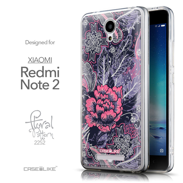 Front & Side View - CASEiLIKE Xiaomi Redmi Note 2 back cover Vintage Roses and Feathers Blue 2252