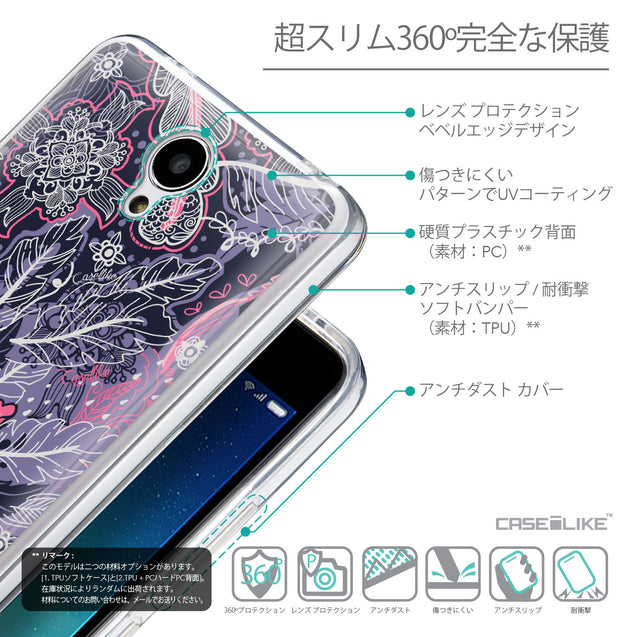 Details in Japanese - CASEiLIKE Xiaomi Redmi Note 2 back cover Vintage Roses and Feathers Blue 2252