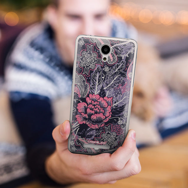 Share - CASEiLIKE Xiaomi Redmi Note 2 back cover Vintage Roses and Feathers Blue 2252