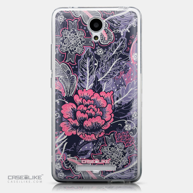 CASEiLIKE Xiaomi Redmi Note 2 back cover Vintage Roses and Feathers Blue 2252