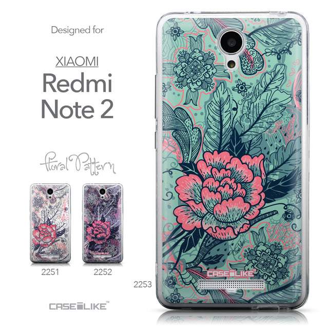 Collection - CASEiLIKE Xiaomi Redmi Note 2 back cover Vintage Roses and Feathers Turquoise 2253