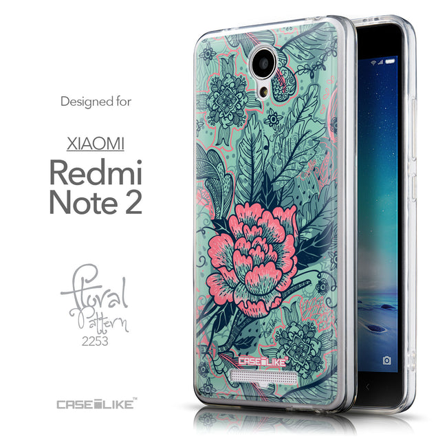 Front & Side View - CASEiLIKE Xiaomi Redmi Note 2 back cover Vintage Roses and Feathers Turquoise 2253
