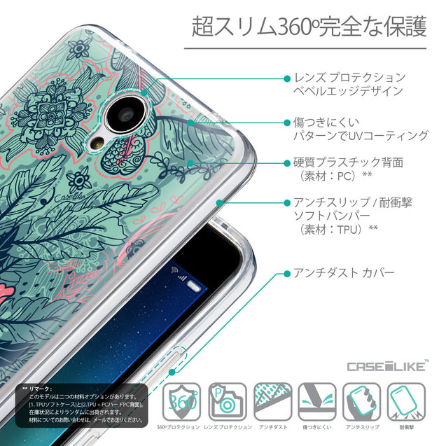 Details in Japanese - CASEiLIKE Xiaomi Redmi Note 2 back cover Vintage Roses and Feathers Turquoise 2253