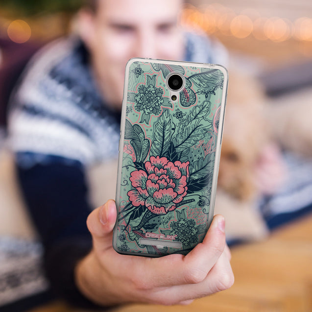 Share - CASEiLIKE Xiaomi Redmi Note 2 back cover Vintage Roses and Feathers Turquoise 2253