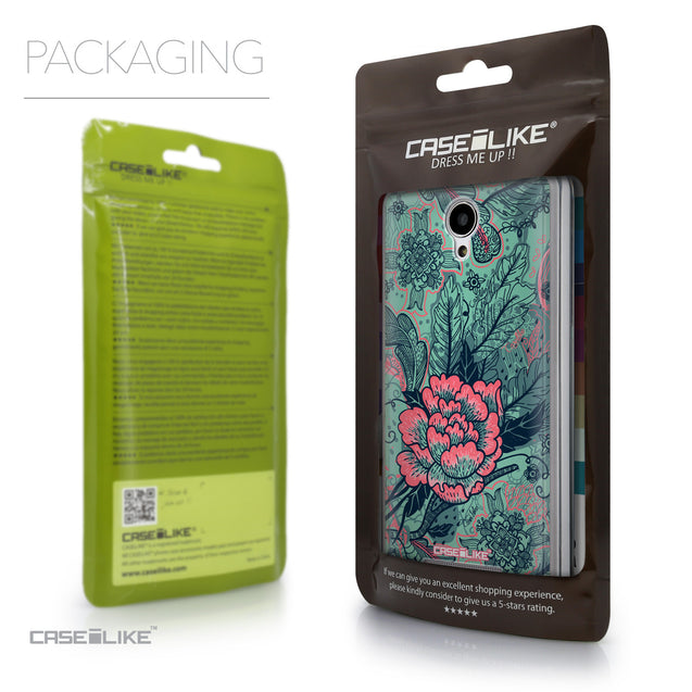 Packaging - CASEiLIKE Xiaomi Redmi Note 2 back cover Vintage Roses and Feathers Turquoise 2253