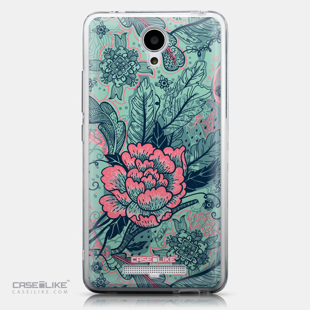 CASEiLIKE Xiaomi Redmi Note 2 back cover Vintage Roses and Feathers Turquoise 2253