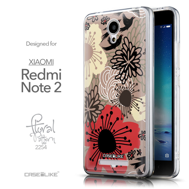 Front & Side View - CASEiLIKE Xiaomi Redmi Note 2 back cover Japanese Floral 2254