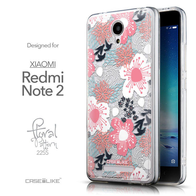 Front & Side View - CASEiLIKE Xiaomi Redmi Note 2 back cover Japanese Floral 2255