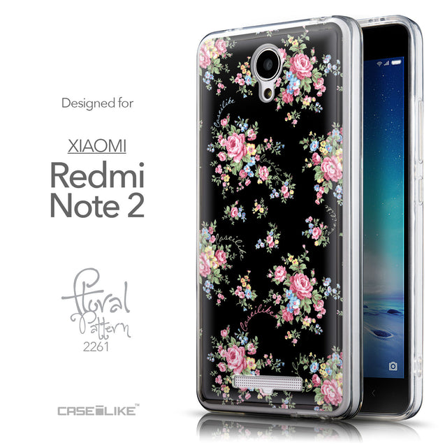 Front & Side View - CASEiLIKE Xiaomi Redmi Note 2 back cover Floral Rose Classic 2261