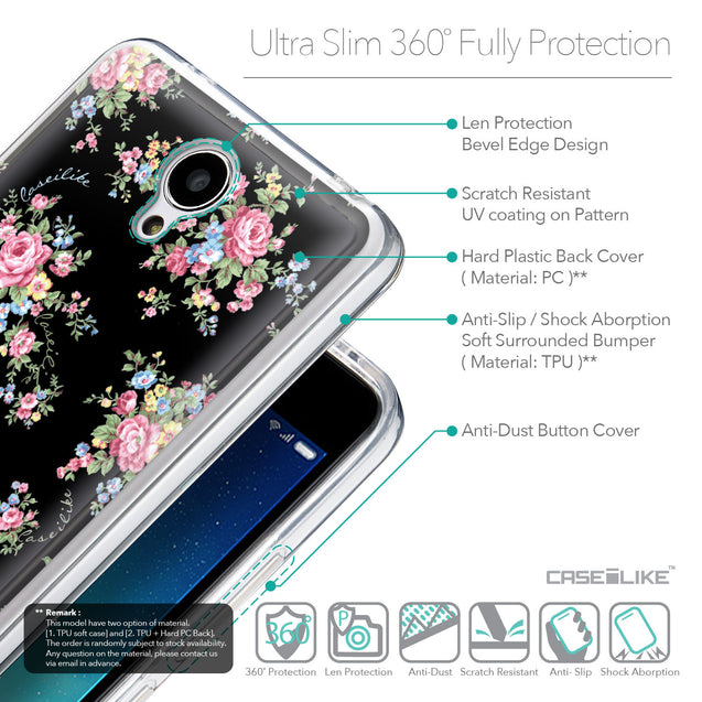Details in English - CASEiLIKE Xiaomi Redmi Note 2 back cover Floral Rose Classic 2261