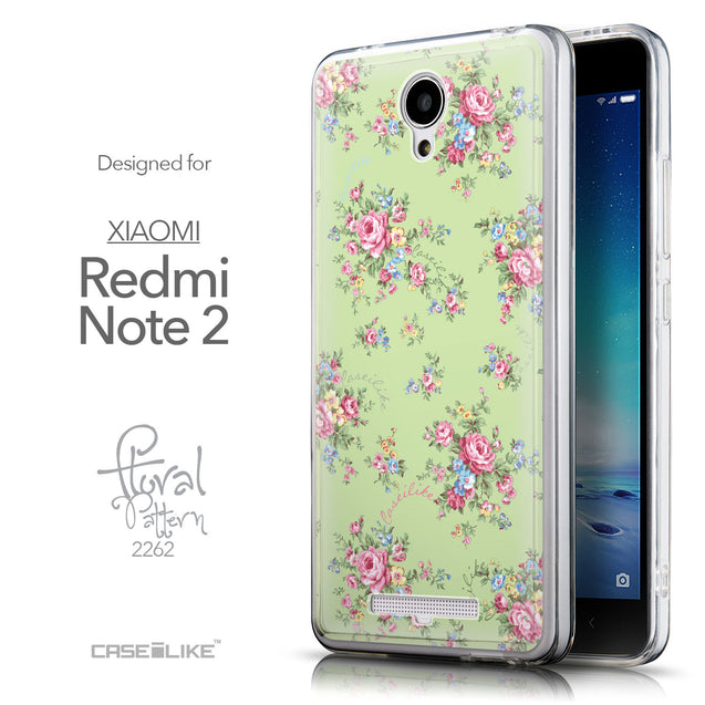 Front & Side View - CASEiLIKE Xiaomi Redmi Note 2 back cover Floral Rose Classic 2262