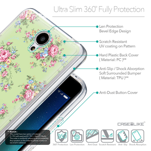 Details in English - CASEiLIKE Xiaomi Redmi Note 2 back cover Floral Rose Classic 2262