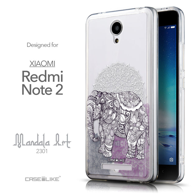 Front & Side View - CASEiLIKE Xiaomi Redmi Note 2 back cover Mandala Art 2301
