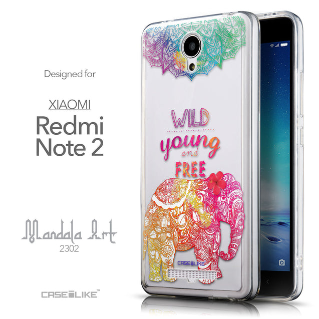 Front & Side View - CASEiLIKE Xiaomi Redmi Note 2 back cover Mandala Art 2302