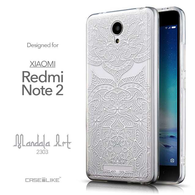 Front & Side View - CASEiLIKE Xiaomi Redmi Note 2 back cover Mandala Art 2303