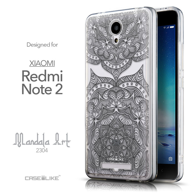 Front & Side View - CASEiLIKE Xiaomi Redmi Note 2 back cover Mandala Art 2304
