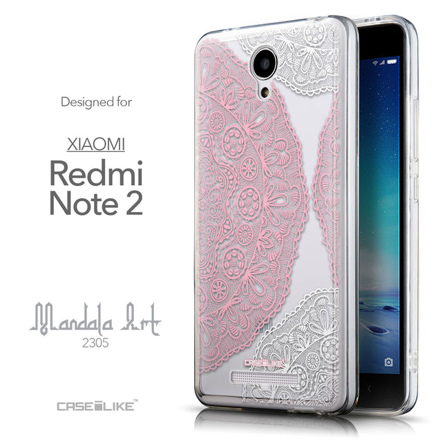 Front & Side View - CASEiLIKE Xiaomi Redmi Note 2 back cover Mandala Art 2305