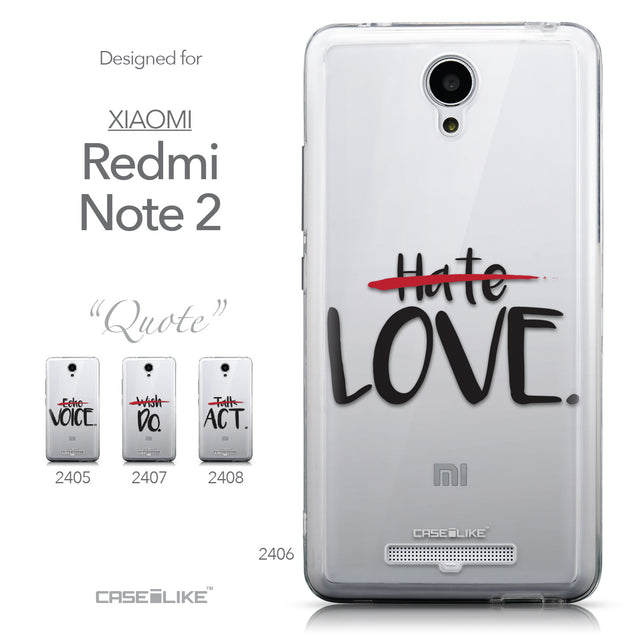 Collection - CASEiLIKE Xiaomi Redmi Note 2 back cover Quote 2406
