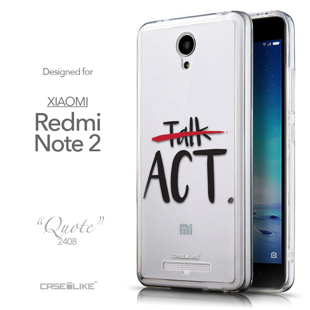 Front & Side View - CASEiLIKE Xiaomi Redmi Note 2 back cover Quote 2408
