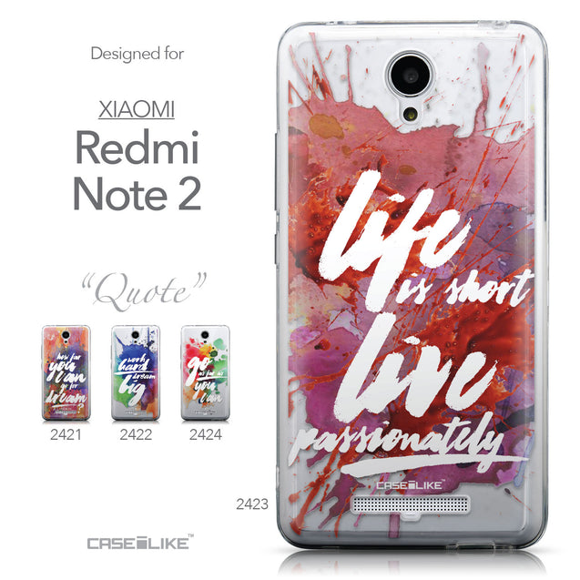 Collection - CASEiLIKE Xiaomi Redmi Note 2 back cover Quote 2423