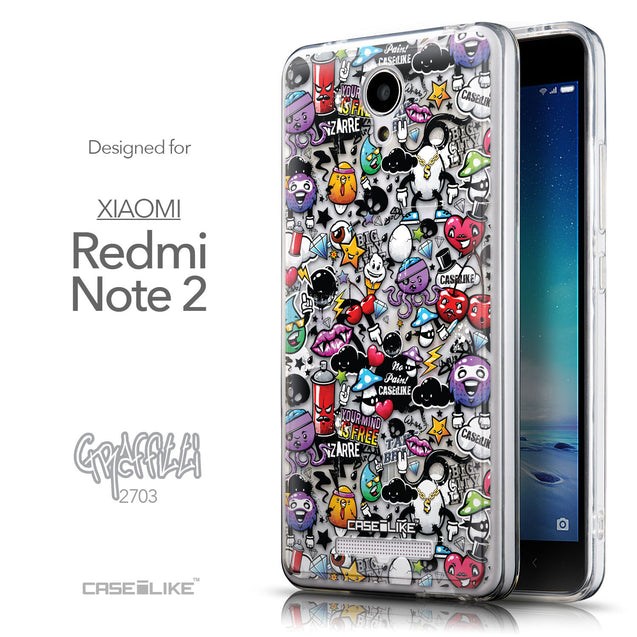 Front & Side View - CASEiLIKE Xiaomi Redmi Note 2 back cover Graffiti 2703