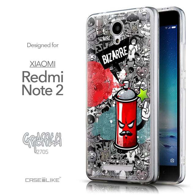 Front & Side View - CASEiLIKE Xiaomi Redmi Note 2 back cover Graffiti 2705