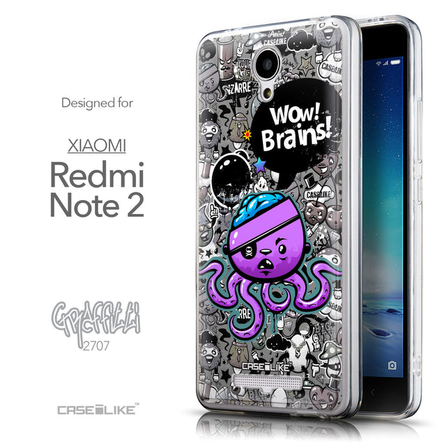 Front & Side View - CASEiLIKE Xiaomi Redmi Note 2 back cover Graffiti 2707