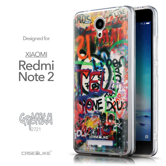 Front & Side View - CASEiLIKE Xiaomi Redmi Note 2 back cover Graffiti 2721