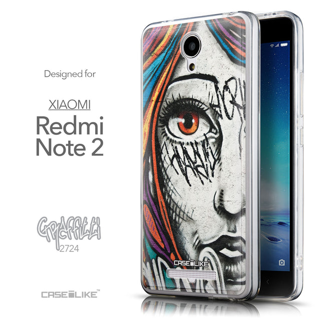 Front & Side View - CASEiLIKE Xiaomi Redmi Note 2 back cover Graffiti Girl 2724
