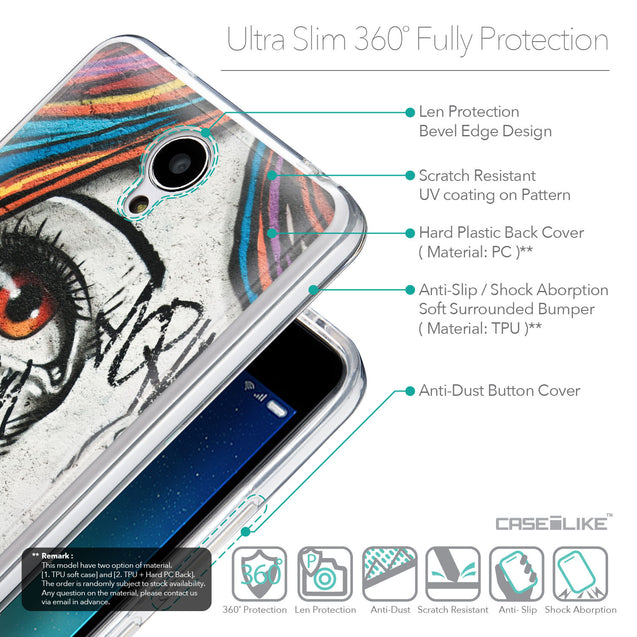 Details in English - CASEiLIKE Xiaomi Redmi Note 2 back cover Graffiti Girl 2724