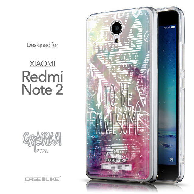 Front & Side View - CASEiLIKE Xiaomi Redmi Note 2 back cover Graffiti 2726