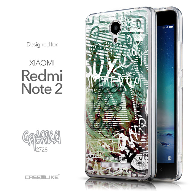 Front & Side View - CASEiLIKE Xiaomi Redmi Note 2 back cover Graffiti 2728