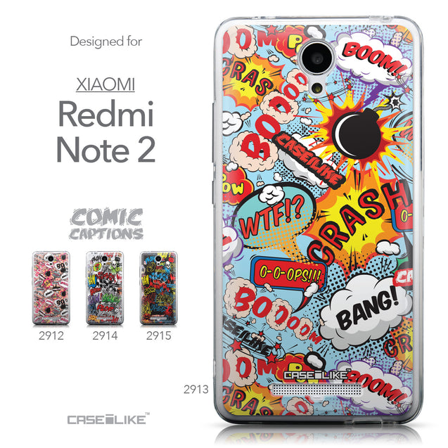 Collection - CASEiLIKE Xiaomi Redmi Note 2 back cover Comic Captions Blue 2913