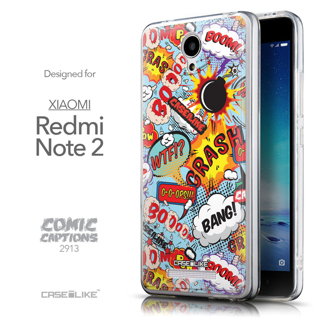 Front & Side View - CASEiLIKE Xiaomi Redmi Note 2 back cover Comic Captions Blue 2913