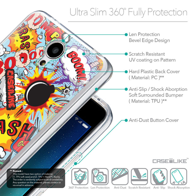 Details in English - CASEiLIKE Xiaomi Redmi Note 2 back cover Comic Captions Blue 2913