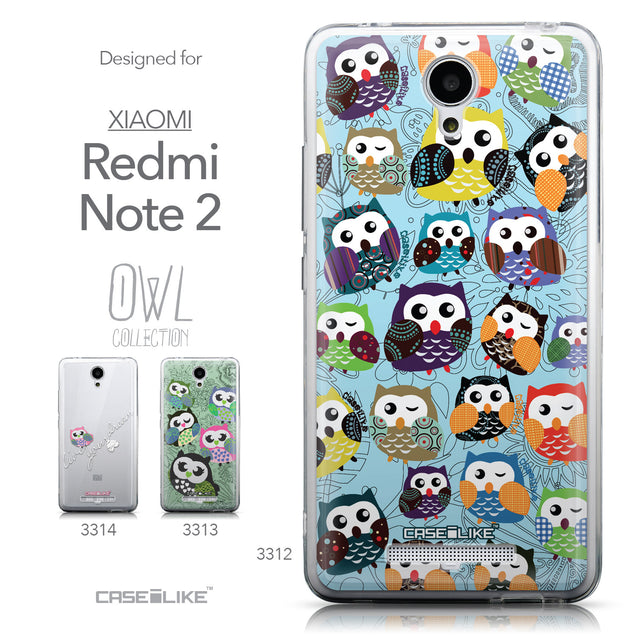 Collection - CASEiLIKE Xiaomi Redmi Note 2 back cover Owl Graphic Design 3312