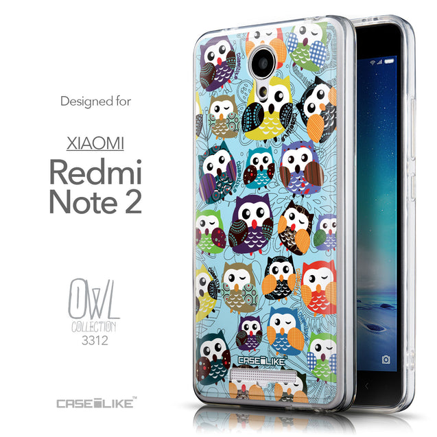 Front & Side View - CASEiLIKE Xiaomi Redmi Note 2 back cover Owl Graphic Design 3312