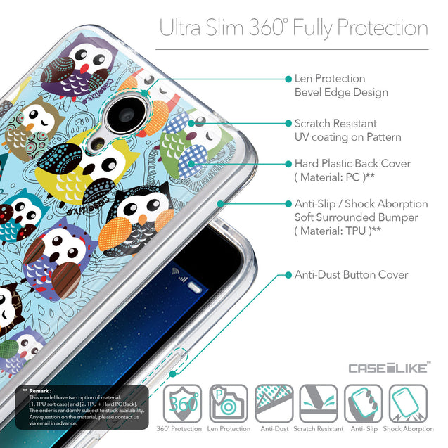 Details in English - CASEiLIKE Xiaomi Redmi Note 2 back cover Owl Graphic Design 3312