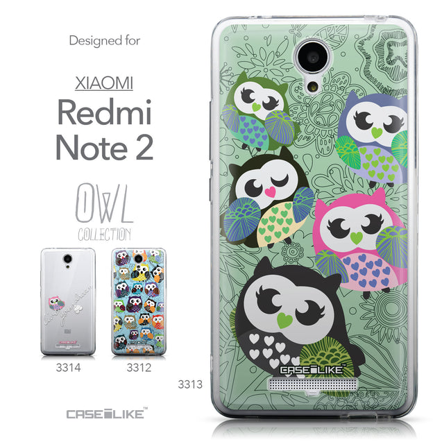 Collection - CASEiLIKE Xiaomi Redmi Note 2 back cover Owl Graphic Design 3313