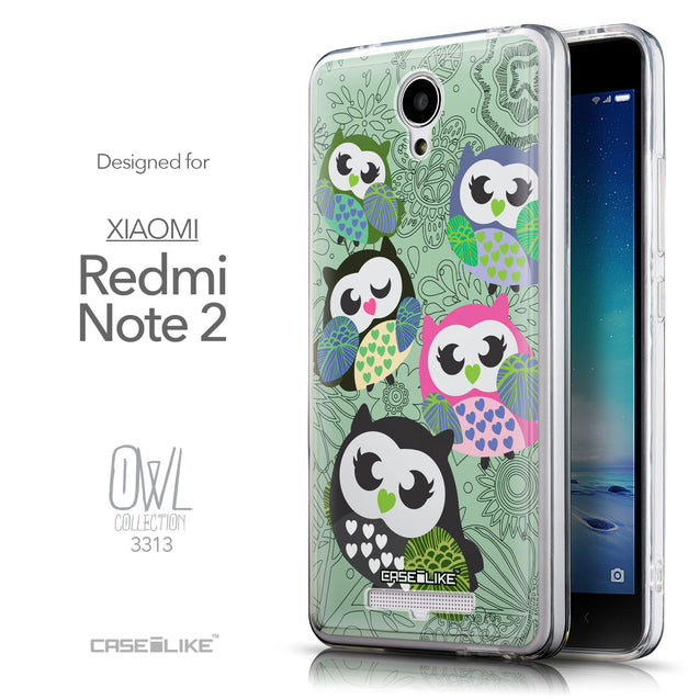Front & Side View - CASEiLIKE Xiaomi Redmi Note 2 back cover Owl Graphic Design 3313