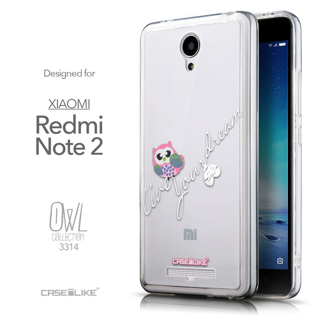 Front & Side View - CASEiLIKE Xiaomi Redmi Note 2 back cover Owl Graphic Design 3314