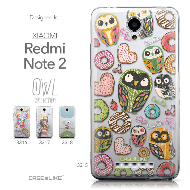 Collection - CASEiLIKE Xiaomi Redmi Note 2 back cover Owl Graphic Design 3315