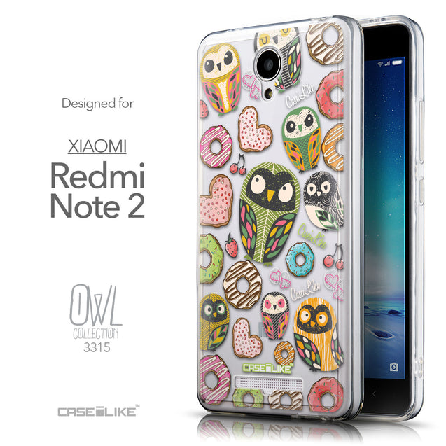 Front & Side View - CASEiLIKE Xiaomi Redmi Note 2 back cover Owl Graphic Design 3315
