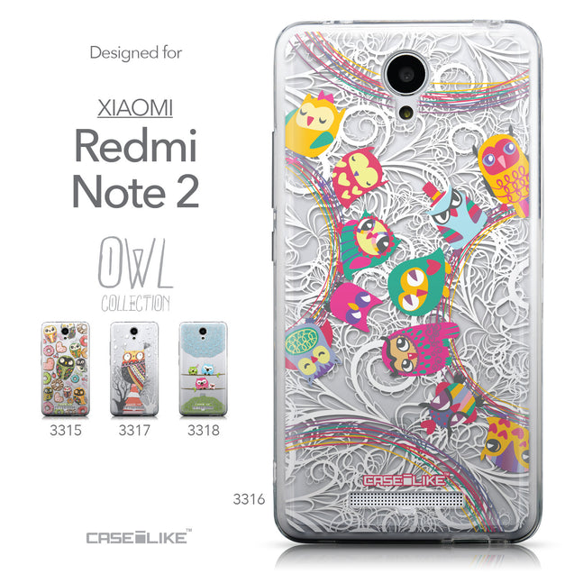 Collection - CASEiLIKE Xiaomi Redmi Note 2 back cover Owl Graphic Design 3316