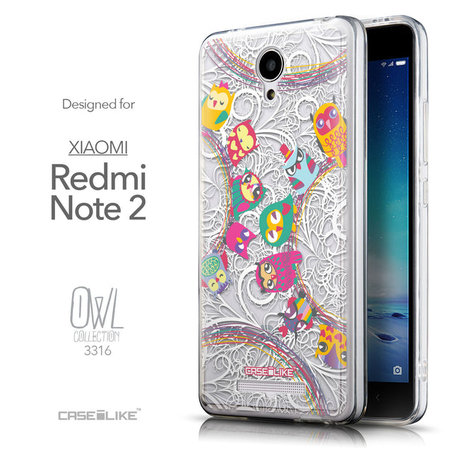 Front & Side View - CASEiLIKE Xiaomi Redmi Note 2 back cover Owl Graphic Design 3316