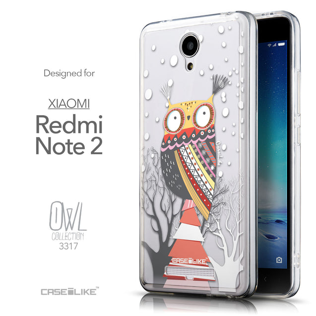 Front & Side View - CASEiLIKE Xiaomi Redmi Note 2 back cover Owl Graphic Design 3317