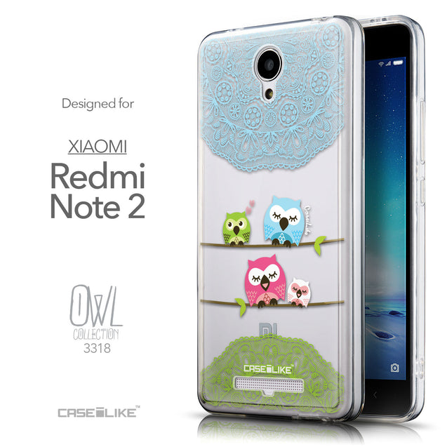 Front & Side View - CASEiLIKE Xiaomi Redmi Note 2 back cover Owl Graphic Design 3318